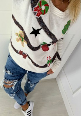 Sweter Christmas Baubles White