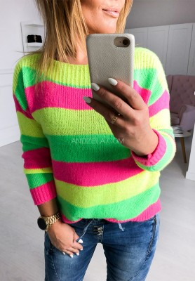 Sweter Paski Neon