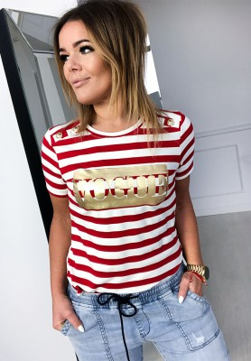 Bluzka Vogue Paski Czerwona