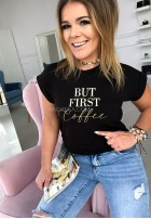 T-shirt First Coffe Black