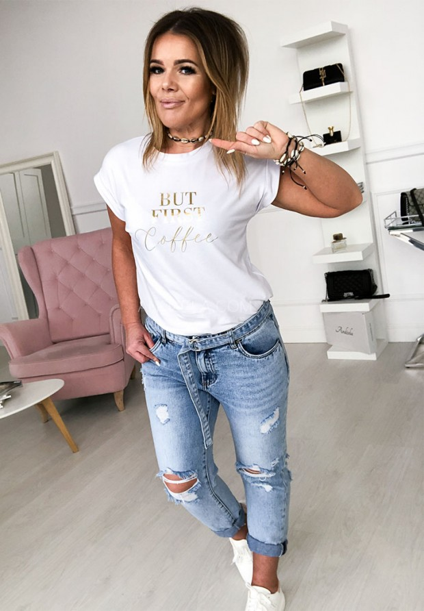 T-shirt First Coffe White