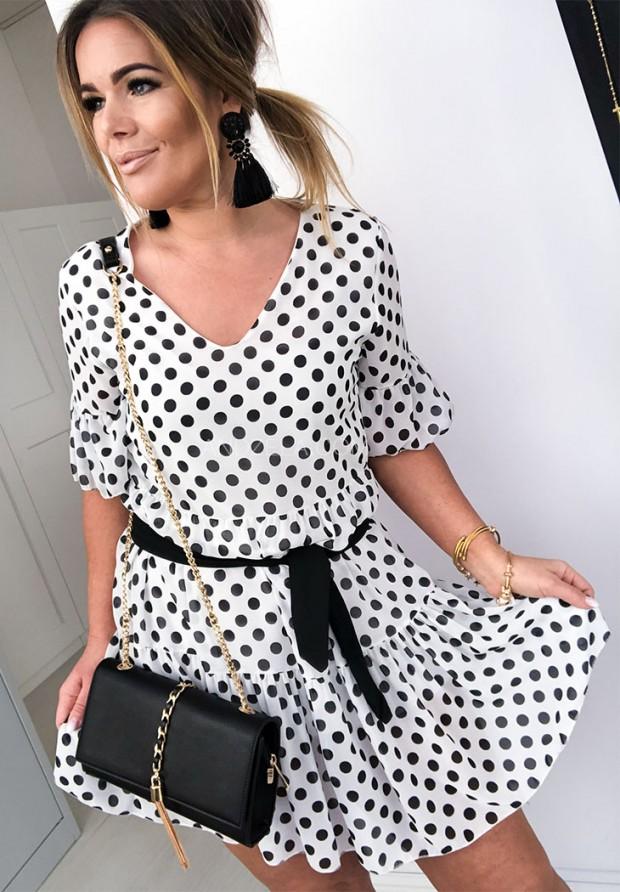 Sukienka Groszki Spot White