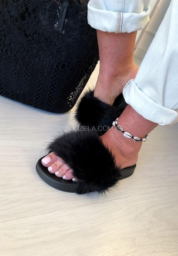 Klapki Fur Black