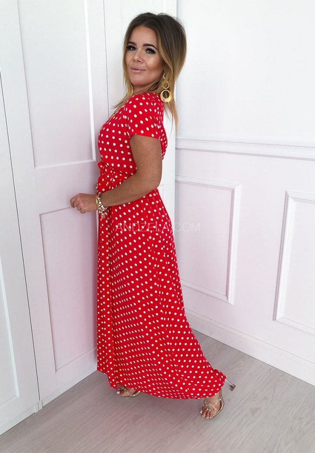 Sukienka Maxi Groszki Red