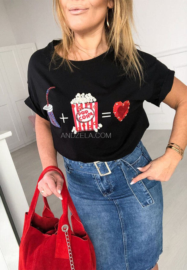 T-shirt Pop Corn Black