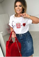 T-shirt Pop Corn White