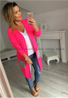 Sweter Kardigan  Pocket Neon Pink