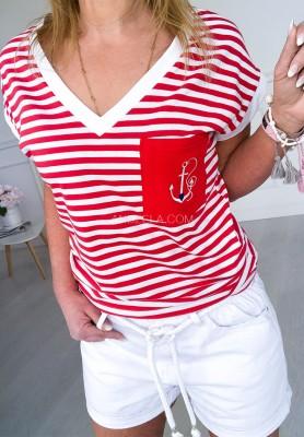 T-shirt Paski Kotwica Czerwień