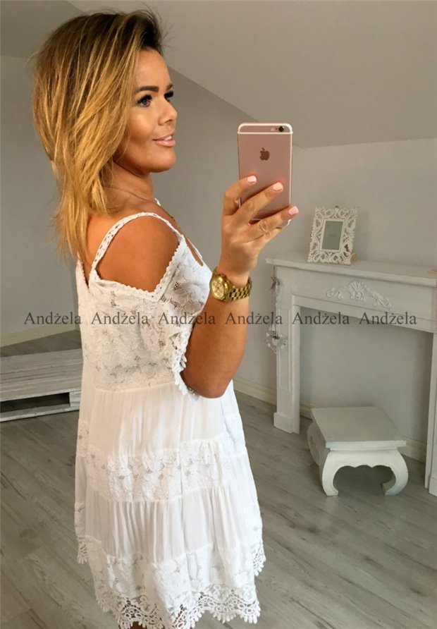 Sukienka Gipiura Mini Biała