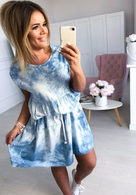 Sukienka Dekatyzowana Niebieska