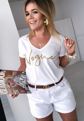 T-shirt V-neck Vogue White