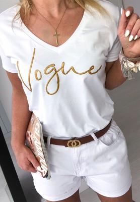 T-shirt V-neck Vogue White