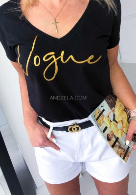 T-shirt V-neck Vogue Black