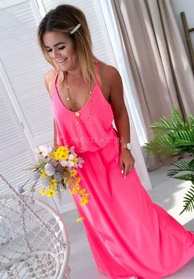Sukienka Maxi Madera Neon Róż