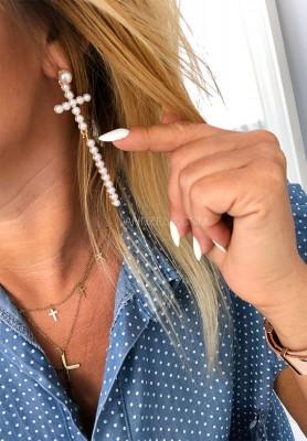 Kolczyki Krzyż Z Perłami