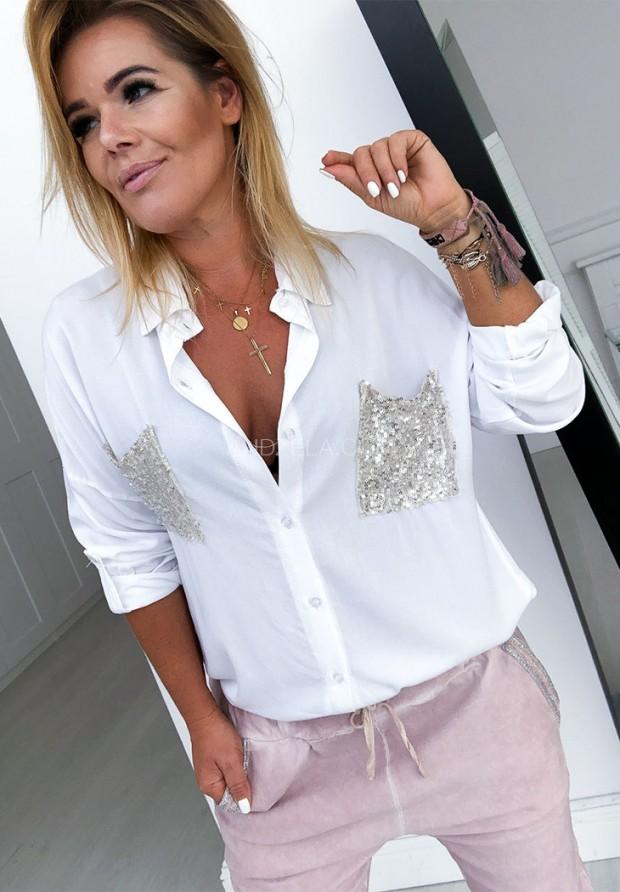 Рубашка Sequins White