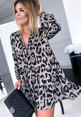 Sukienka Panther Print Mokka