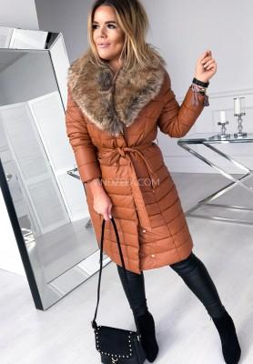 18058-4 Płaszcz Leather Camel