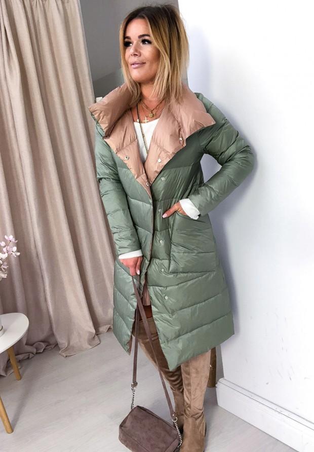 Płaszcz Dwustronny Cover Oliwka+ Camel
