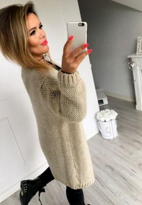 Kardigan Sweter Long Beż
