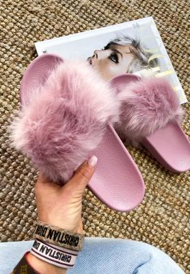 Klapki Futro Pink
