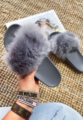 Klapki Futro Grey