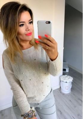 Sweter Perełki Beż
