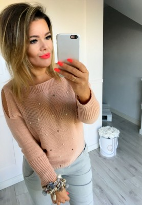Sweter Perełki Puder