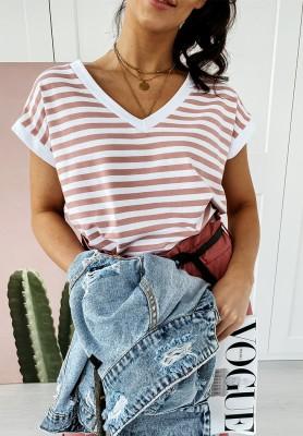 T-shirt V-neck Paski Deep Pink