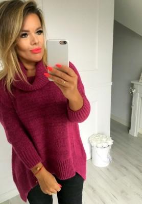 Sweter Golf Asymetryczny Fiolet