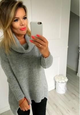 Sweter Golf Asymetryczny Szary