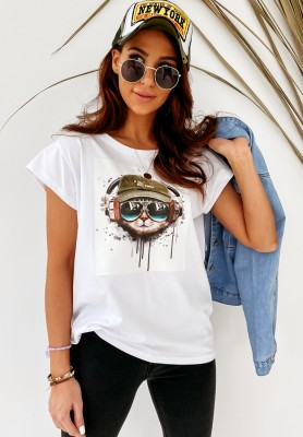 T-shirt Cat White