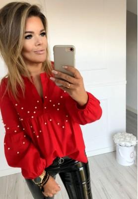 Bluzka Koszula Pearls Czerwona