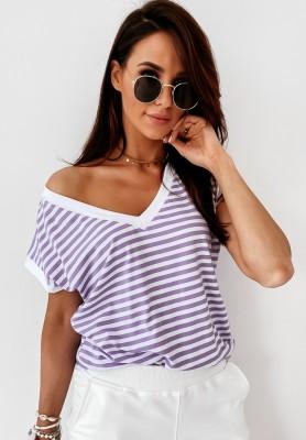 T-shirt V-neck Paski Deep Lilac