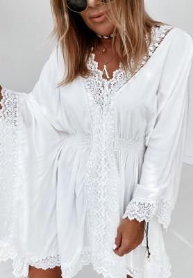 Bluzka Oversize Boho Fargo White