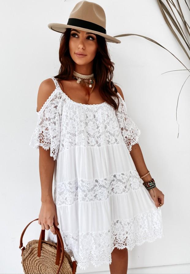 Sukienka Boho Gipiura White