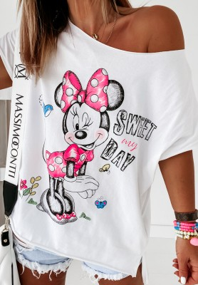 Bluzka Mouse Sweet Day White