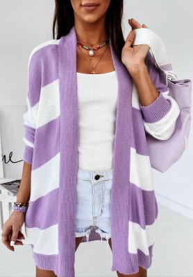 Sweter Kardigan Escot Paski Lilac