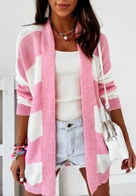 Sweter Kardigan Escot Paski Pink
